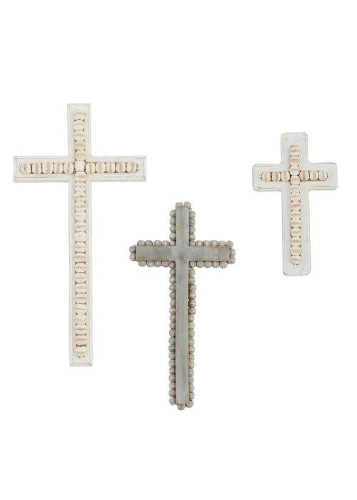 Mudpie White-Washed Beaded Cross Decor