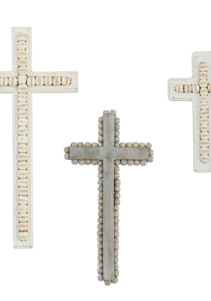White-Washed Beaded Cross Decor
