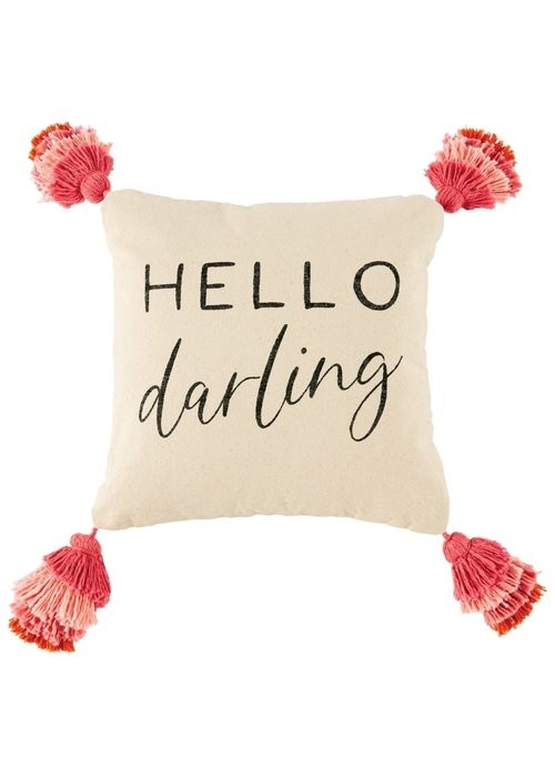 Mudpie Hello Darling Tassel Pillow