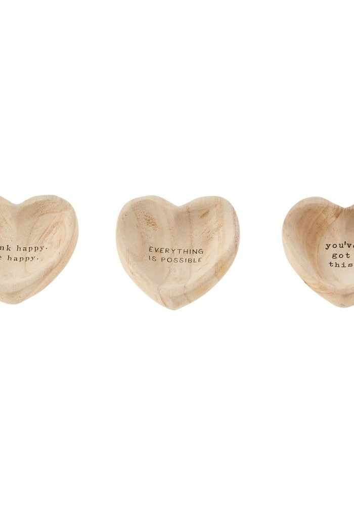 Inspirational Wood Heart Trinket Tray