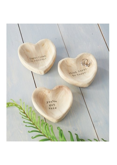 Mudpie Inspirational Wood Heart Trinket Tray