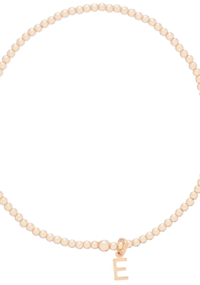 Classic 2mm Gold Bead Respect Initial Charm Bracelet