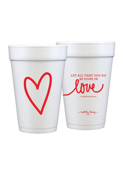 Red Love Scripture 16oz Foam Cups Set of 12