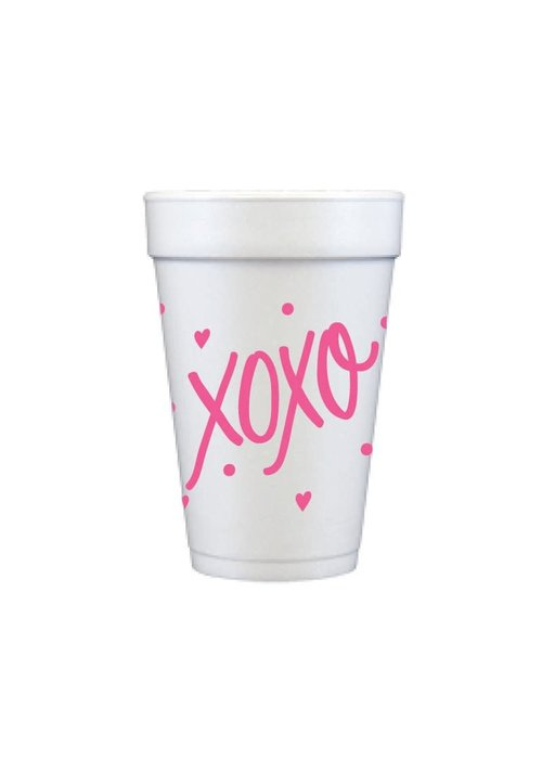 Pink XOXO 16oz Foam Cups Set of 12