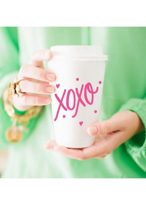 Pink XOXO 16oz To-Go Coffee Cups w/Lids Set of 10