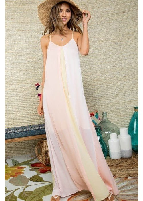 Pastel Color Block Maxi Dress