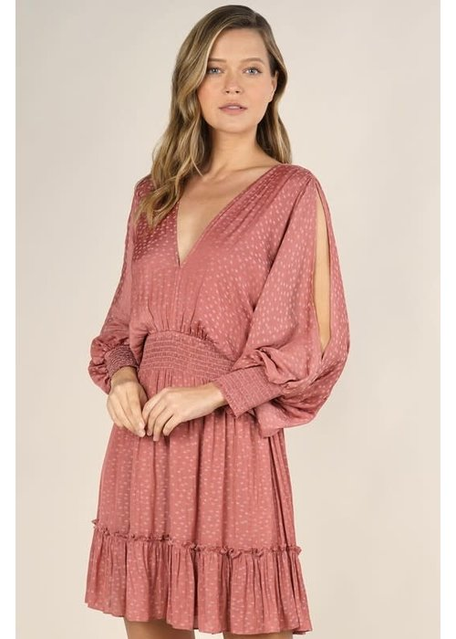 Star Jacquard Split Sleeve Dress