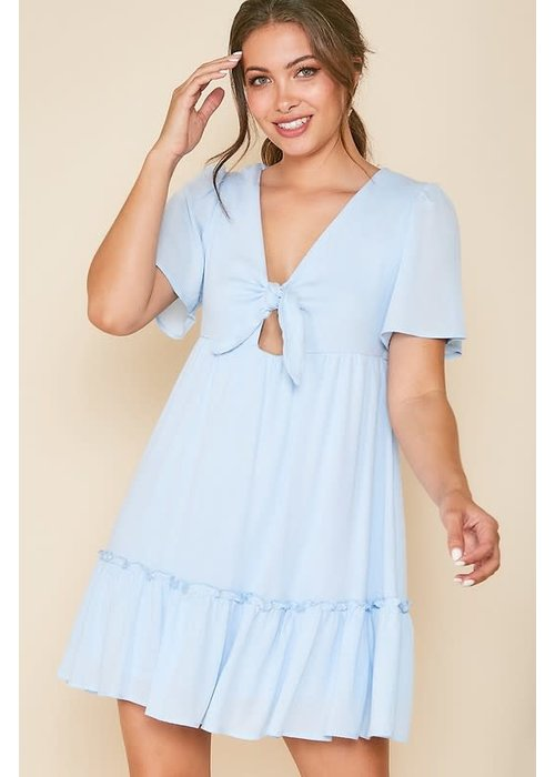 Front Tie Woven Dress