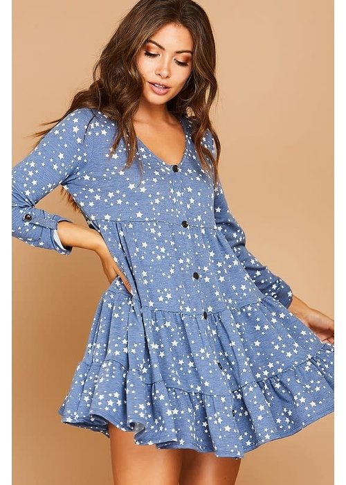 Star Printed Knit Dress