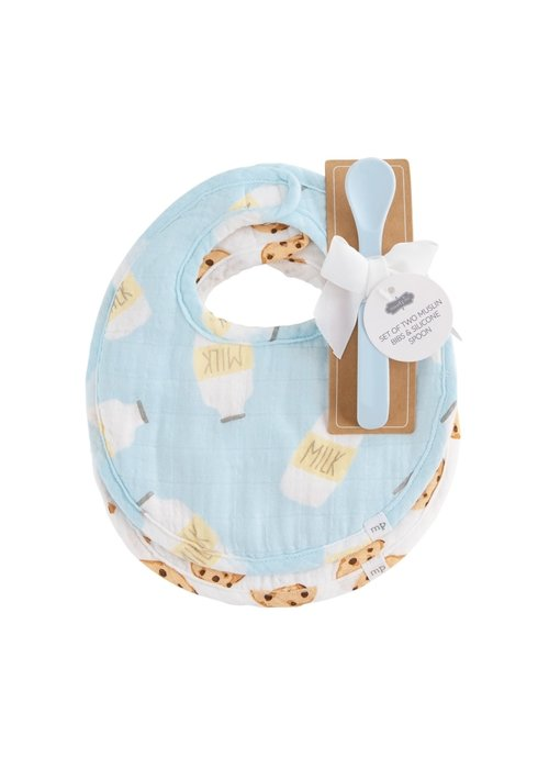 Mudpie Blue Milk & Cookies Muslin Bib and Spoon  3-Piece Set