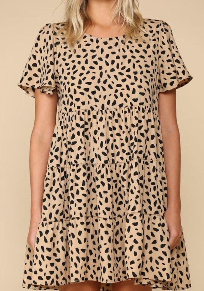 Leopard Babydoll Ruffle Dress