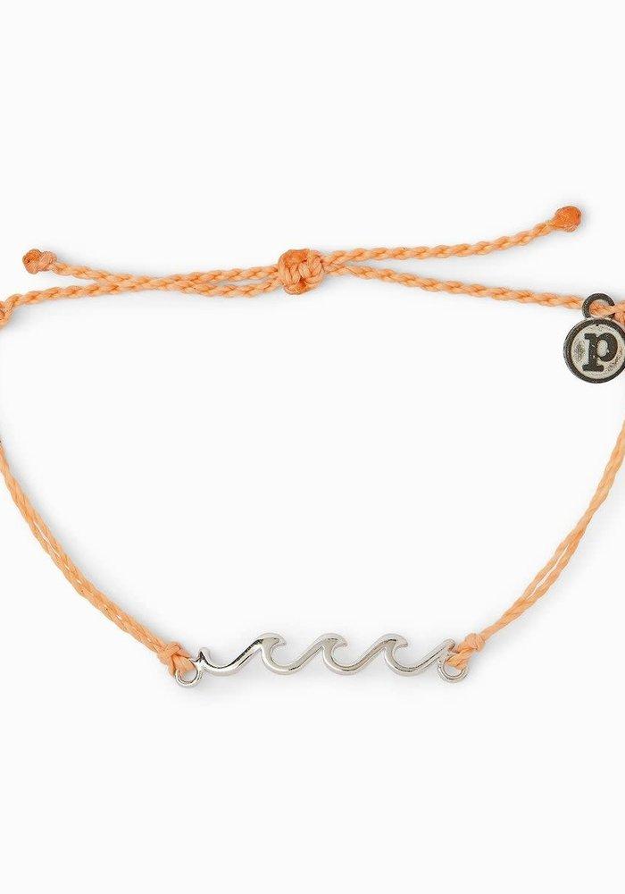 Silver Delicate Wave Bracelet Peach