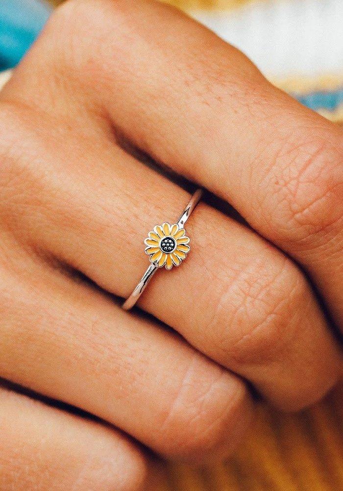 Enamel Sunflower Ring
