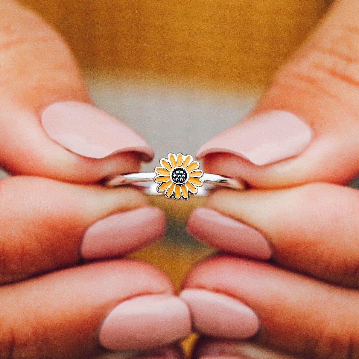 Pop Perfect Ring Diamontrigue Jewelry: Enamel Sunflower Ring