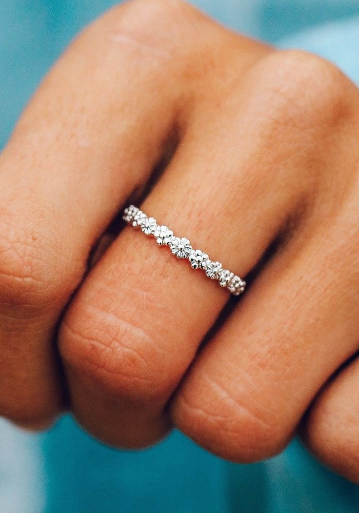 Silver Floral Stacking Ring