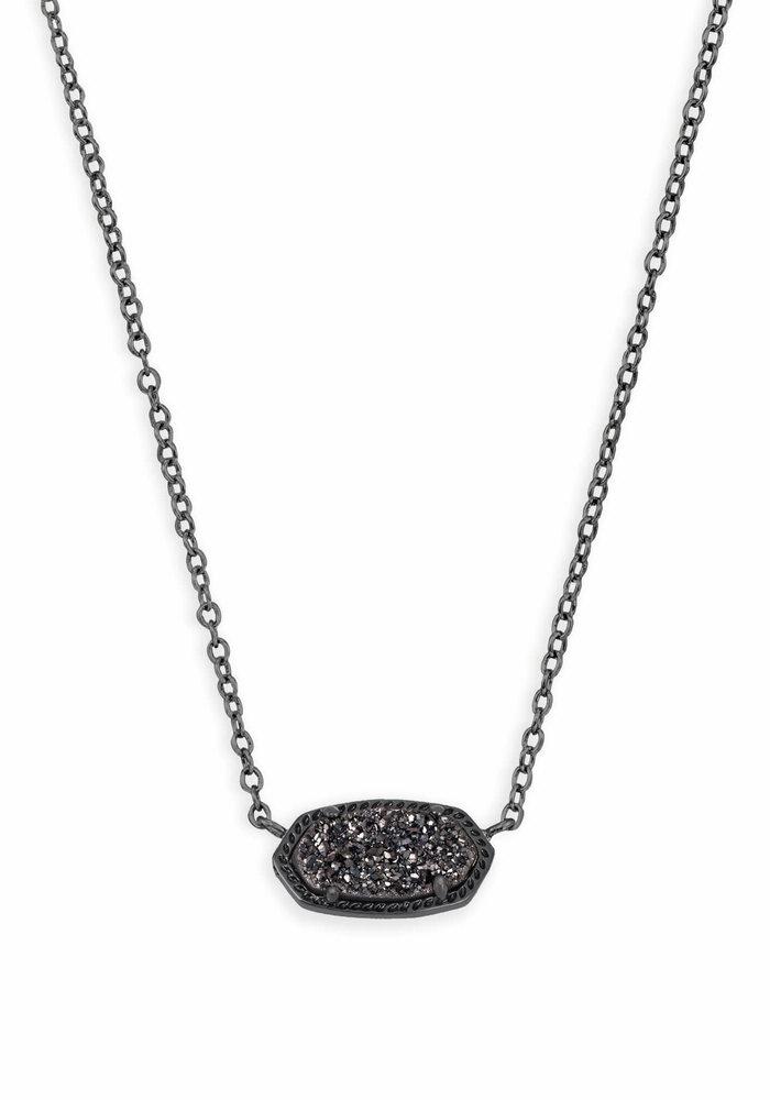 Elisa Necklace Black Gunmental Black Drusy