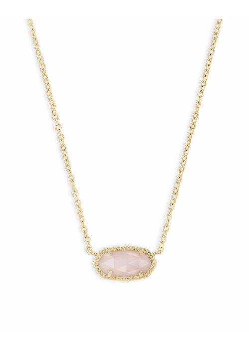 Kendra Scott Elisa Necklace Gold Metal Rose Quartz