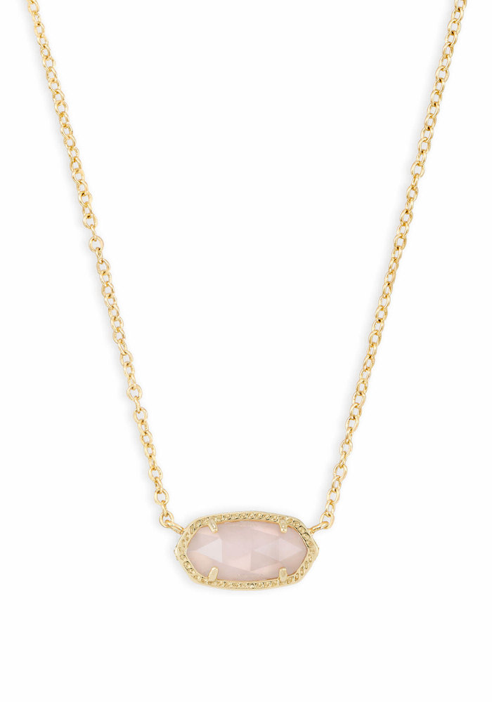 Elisa Necklace Gold Metal Rose Quartz