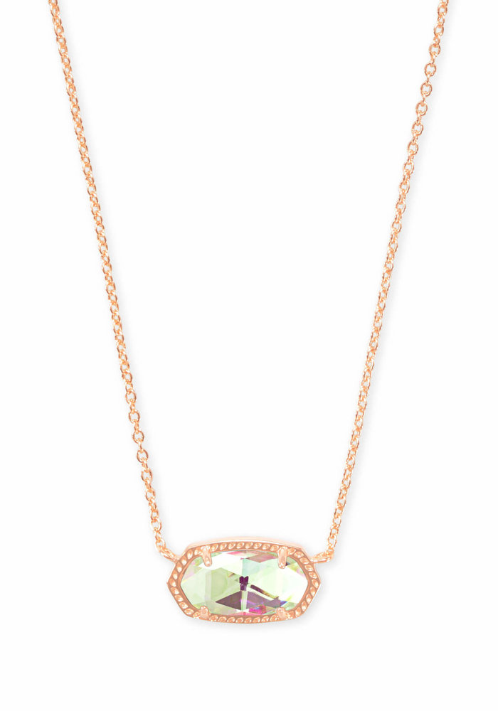 Elisa Necklace Rose Gold Metal Dichroic Glass