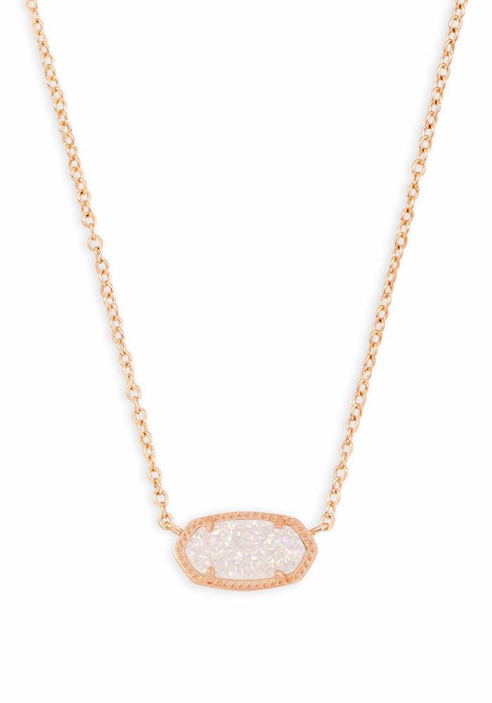 Elisa Necklace Rose Gold Metal Iridescent Drusy