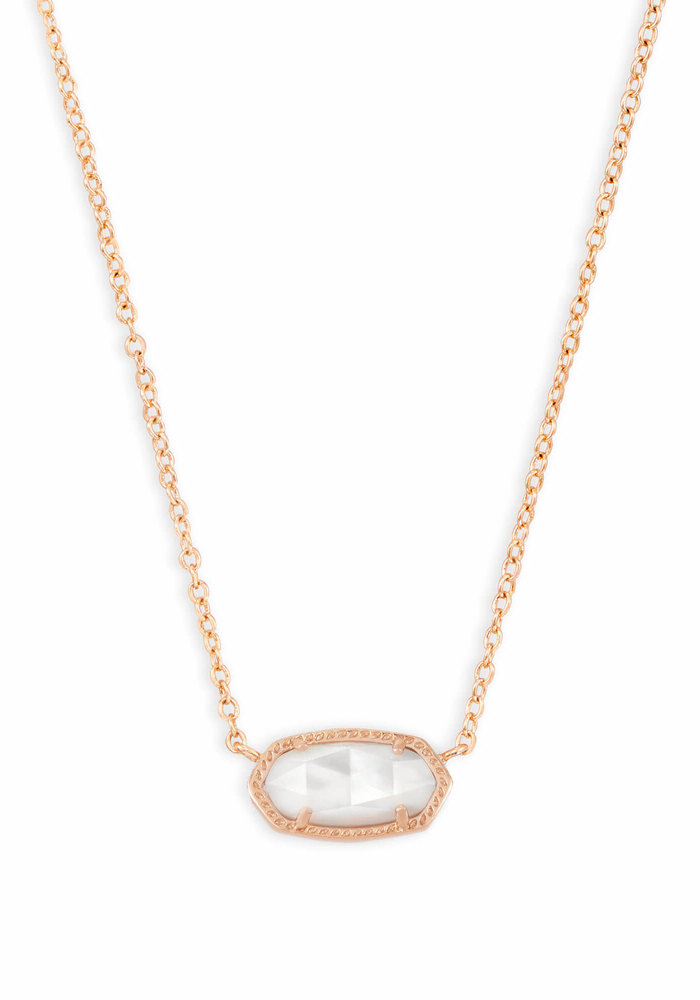 Elisa Necklace Rose Gold Metal Ivory Mother of Pearl