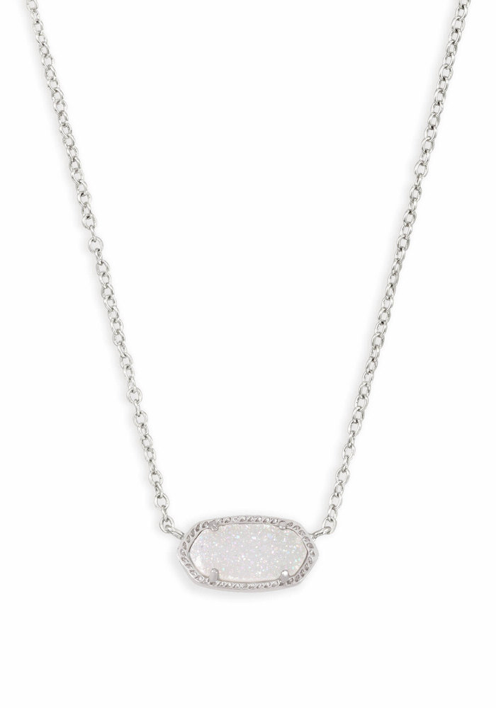 Elisa Necklace Silver Metal Iridescent Drusy
