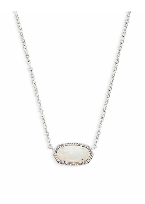 Kendra Scott Elisa Necklace Rhodium White Opal