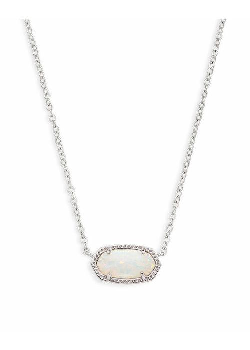 Kendra Scott Elisa Necklace Silver Metal White Opal