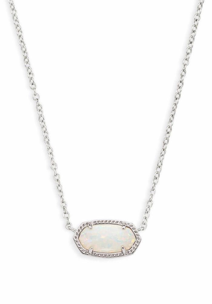 Elisa Necklace Rhodium White Opal