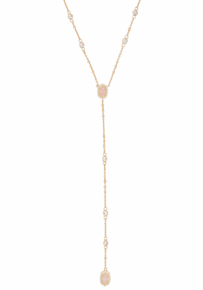 Claudia Lariat Necklace Gold Metal Drusy