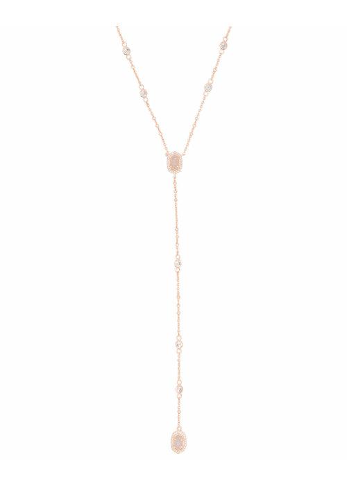 Kendra Scott Claudia Lariat Necklace Rose Gold Metal Drusy