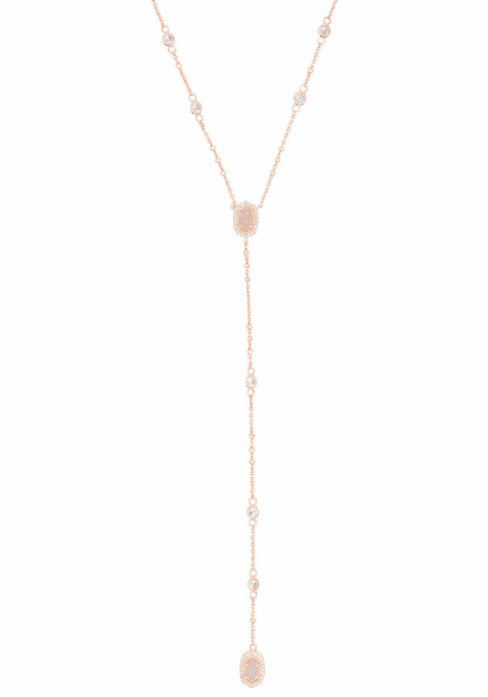 Claudia Lariat Necklace Rose Gold Metal Drusy