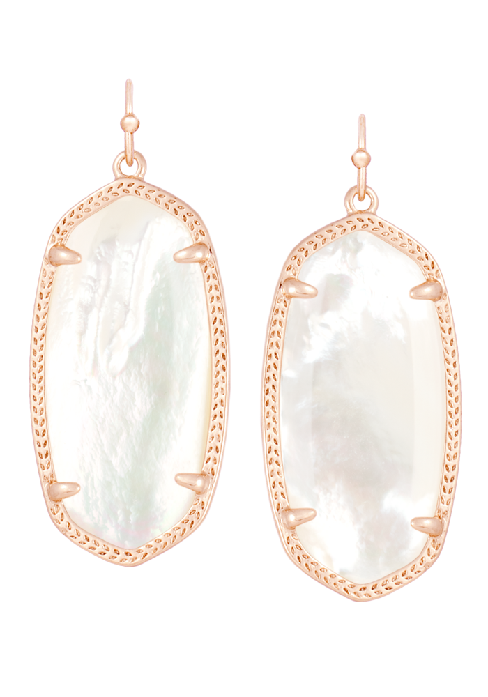 Elle Earring Rose Gold Metal Ivory Mother of Pearl