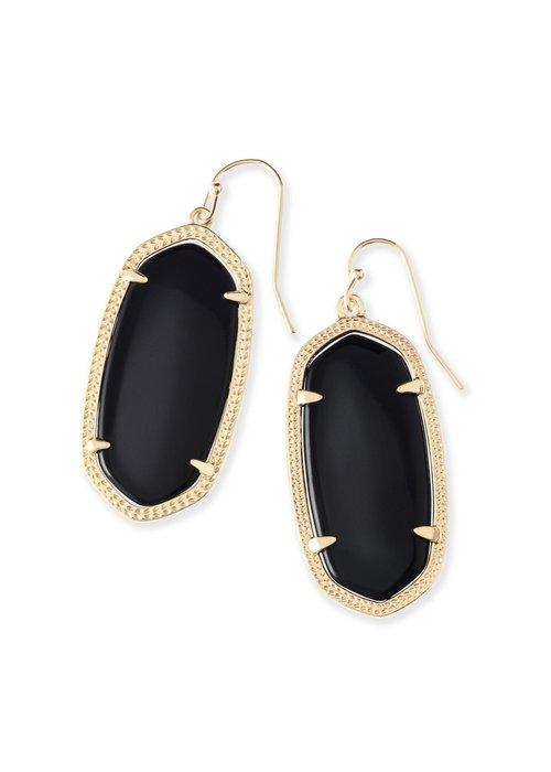 Kendra Scott Elle Earring Gold Metal Black Opaque Glass