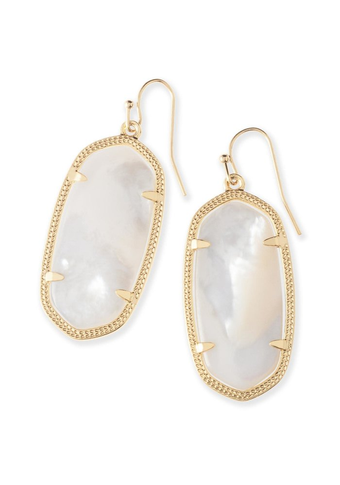 Elle Earring Gold Metal Ivory Mother of Pearl