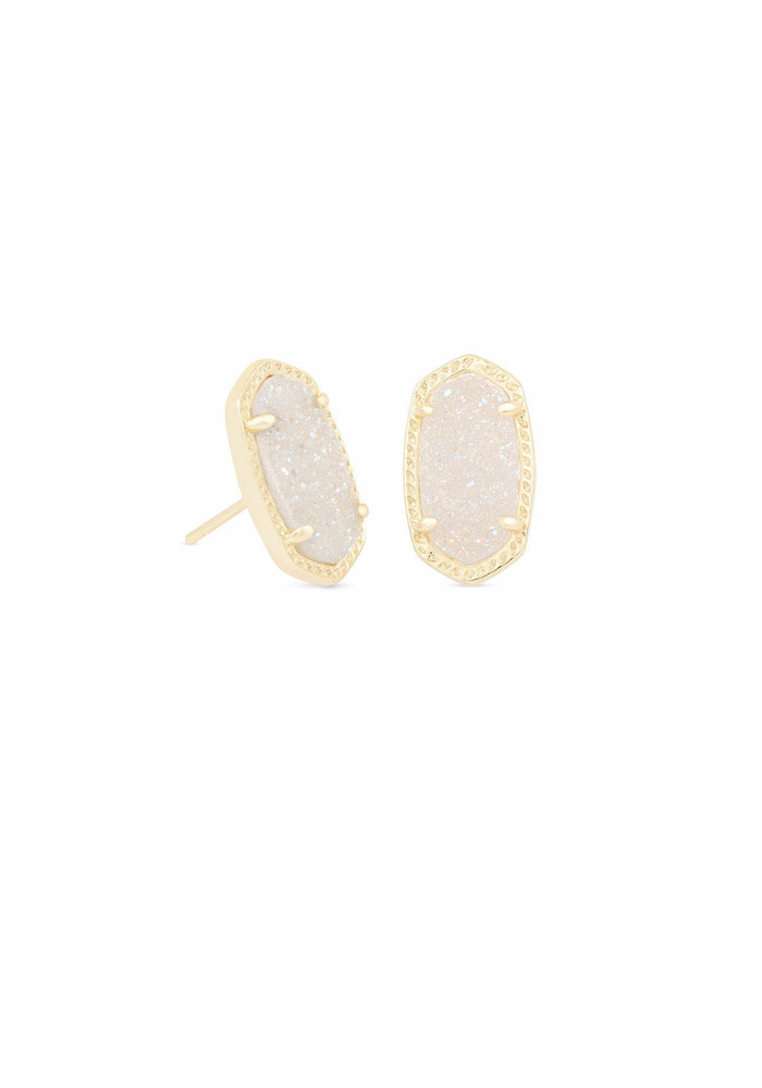 Ellie Earring Gold Metal Iridescent Drusy