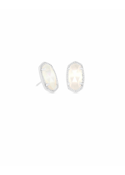 Kendra Scott Ellie Earring Silver Metal Ivory Mother of Pearl