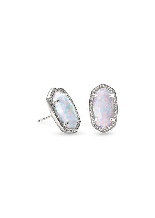 Kendra Scott Ellie Earring Rhod Metal White Opal