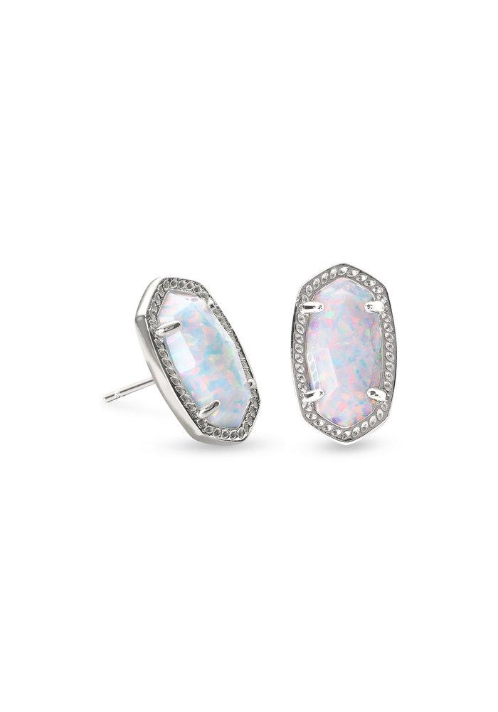 Ellie Earring Rhod Metal White Opal