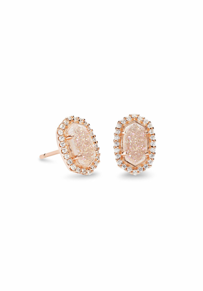 Cade Earring Rose Gold Iridescent Drusy