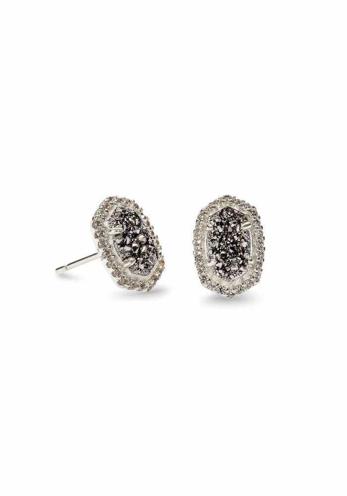 Cade Earring Silver Platinum Drusy
