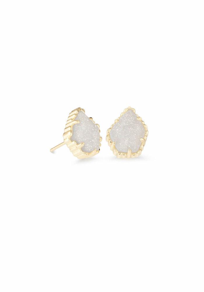 Tessa Earring Gold Metal Iridescent Drusy