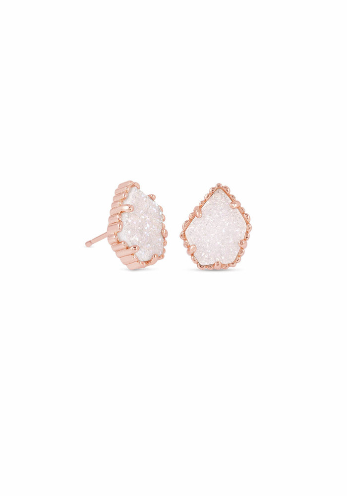 Tessa Earring Rose Gold Metal Iridescent Drusy