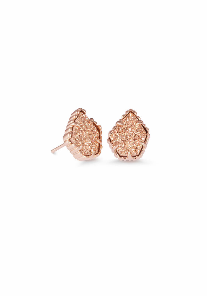 Tessa Earring Rose Gold Metal Rose Gold Drusy
