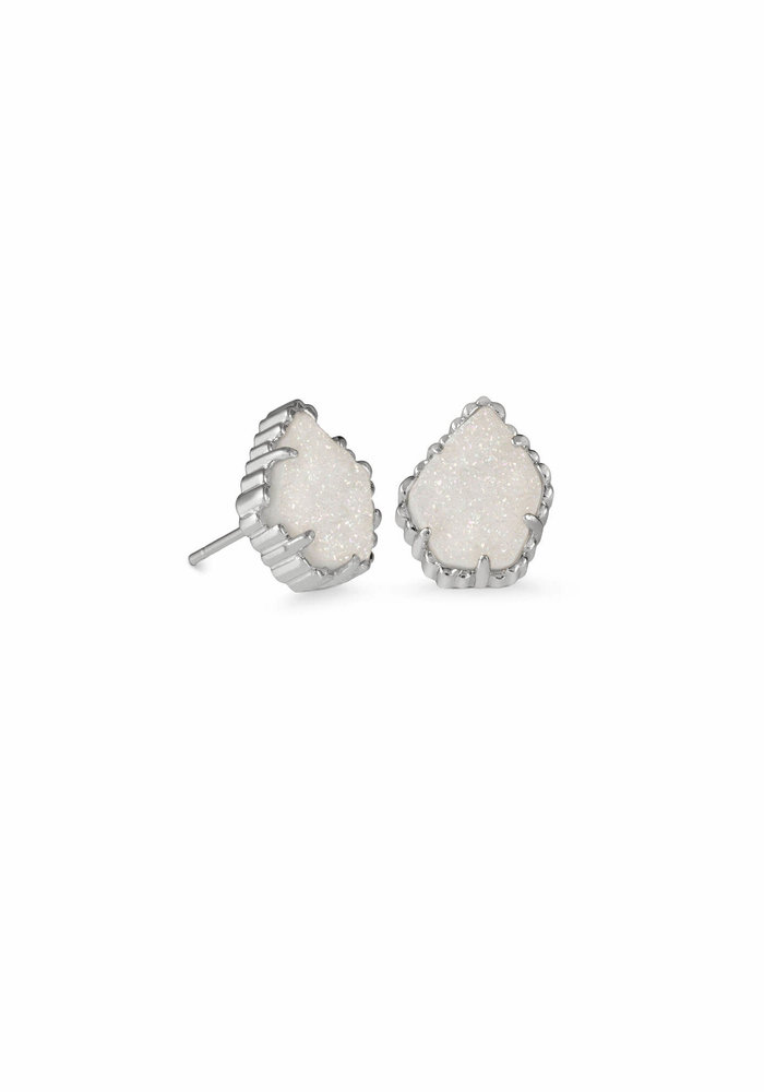 Tessa Earring Rhodium Iridescent Drusy