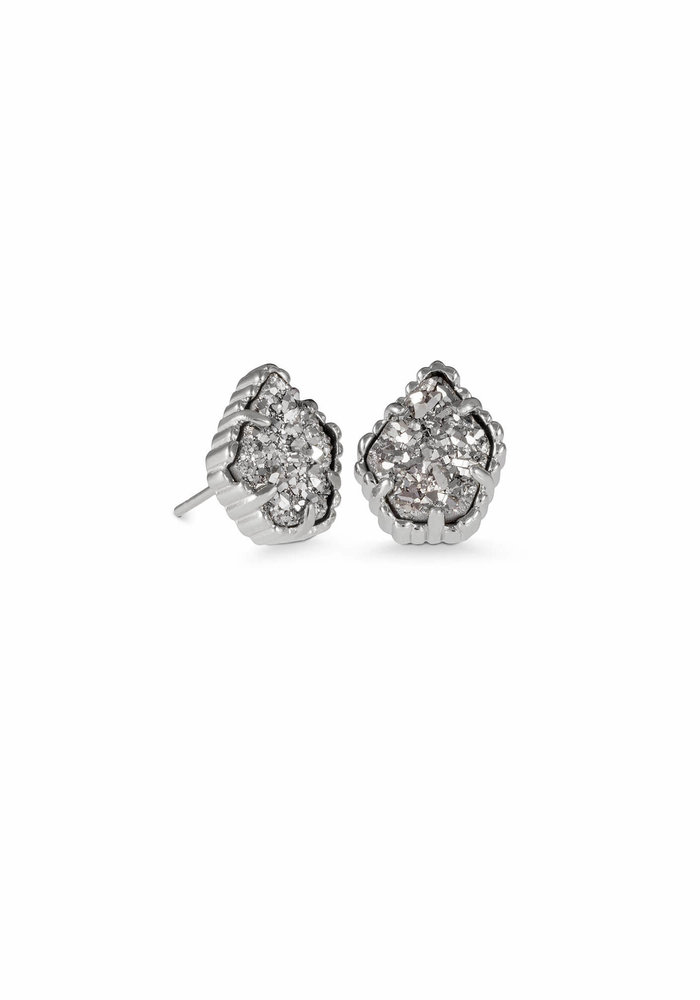 Tessa Earring Rhodium Platinum Drusy