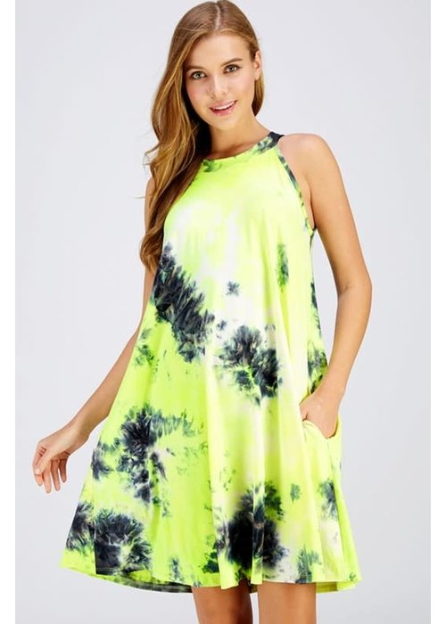 Neon Tie-Dye Halter Dress