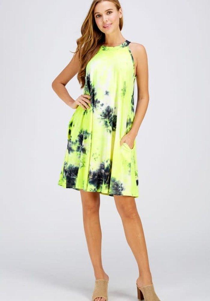 Neon Tie-Dye Halter Dress