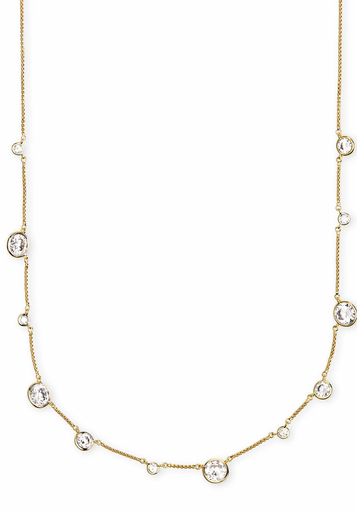 Clementine Choker Necklace Gold Metal White CZ
