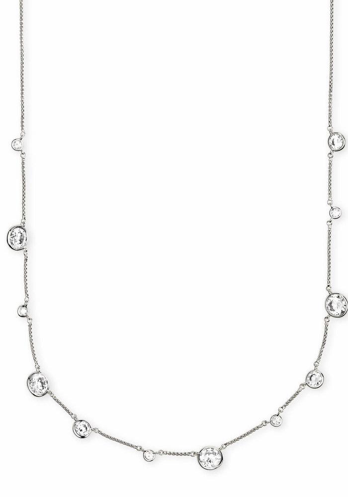 Clementine Choker Necklace Silver Metal White CZ